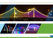 Lighting architecture of bridges, lakes and buildings